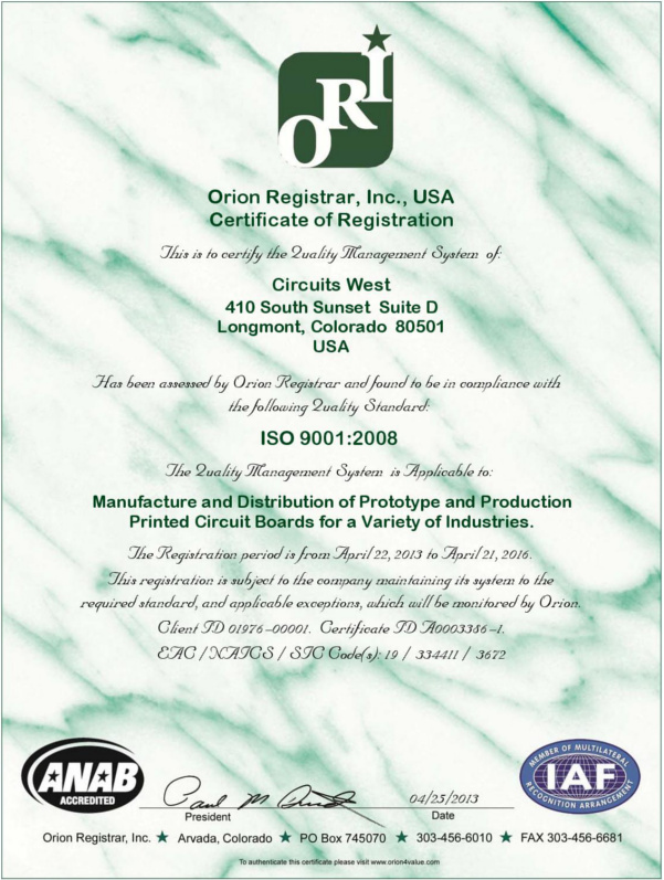 CWI ISO Certification 2013